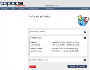 Aplicación registrada en topoos