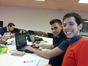 Dani, Majs y yo en el hackathon